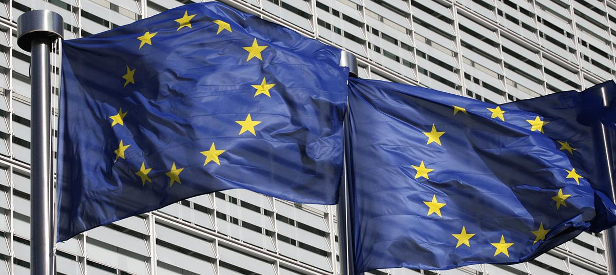 EU flags floating in Brussels