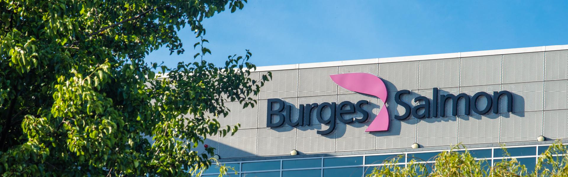 Burges Salmon logo through trees