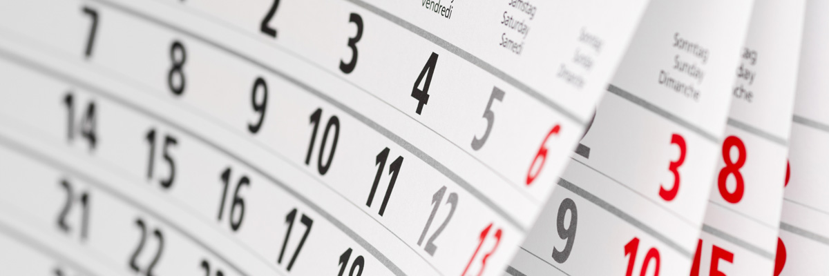 Close up calendar page