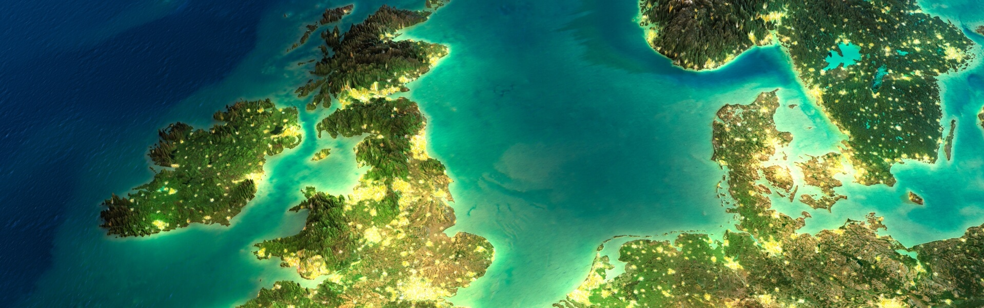 Satellite view of UK and Europe with lights