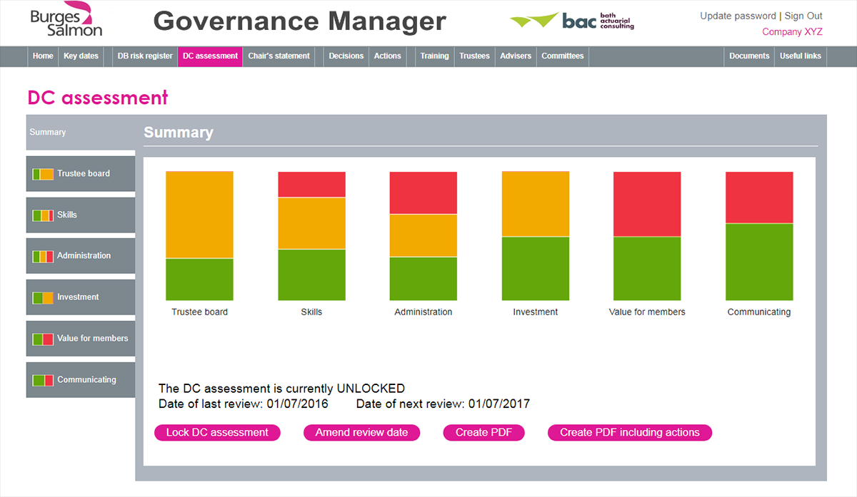 Governance Manager online tool for DB and DC pension scheme trustees
