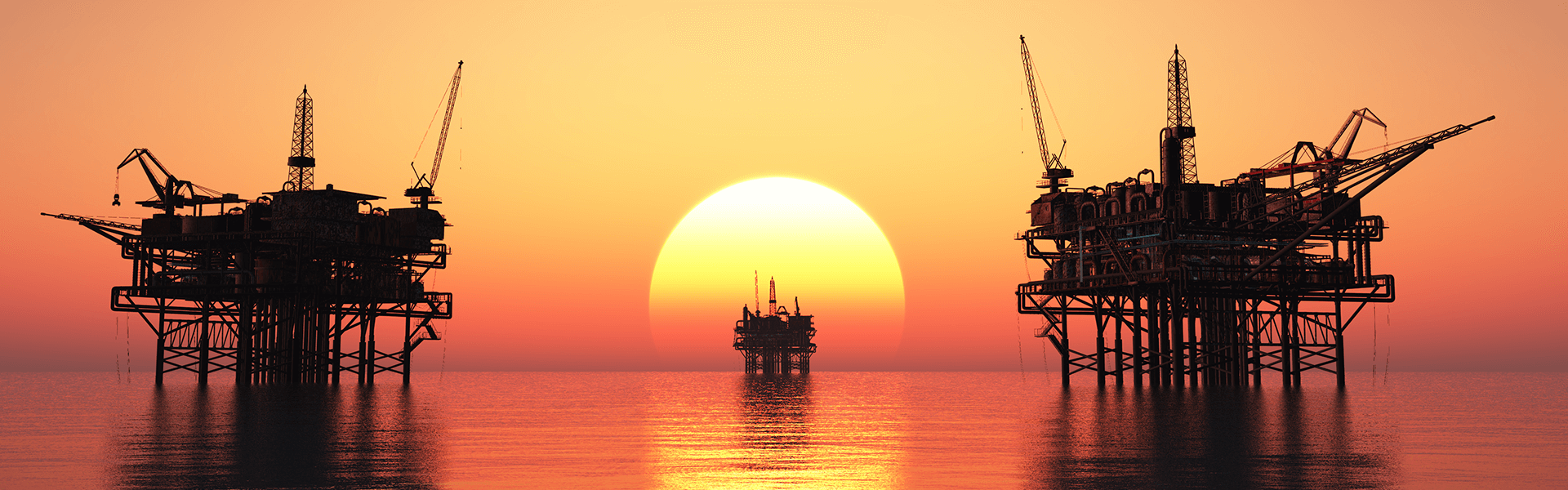 Oil rig with sunset
