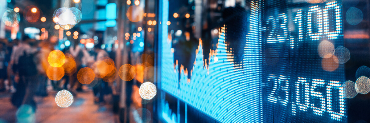 Reflection of Stock Market Screen on window